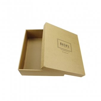 square brown color black printing kraft gift boxes with lids
