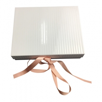 White Magnetic Gift Box With Ribbon Closure