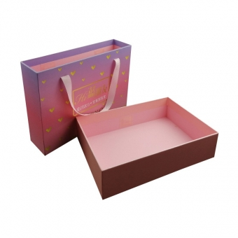 large size sliding drawer gift box with ribbon handle
