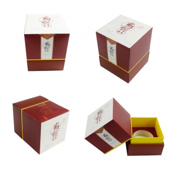 Custom square coloured lid and base gift box with cuff
